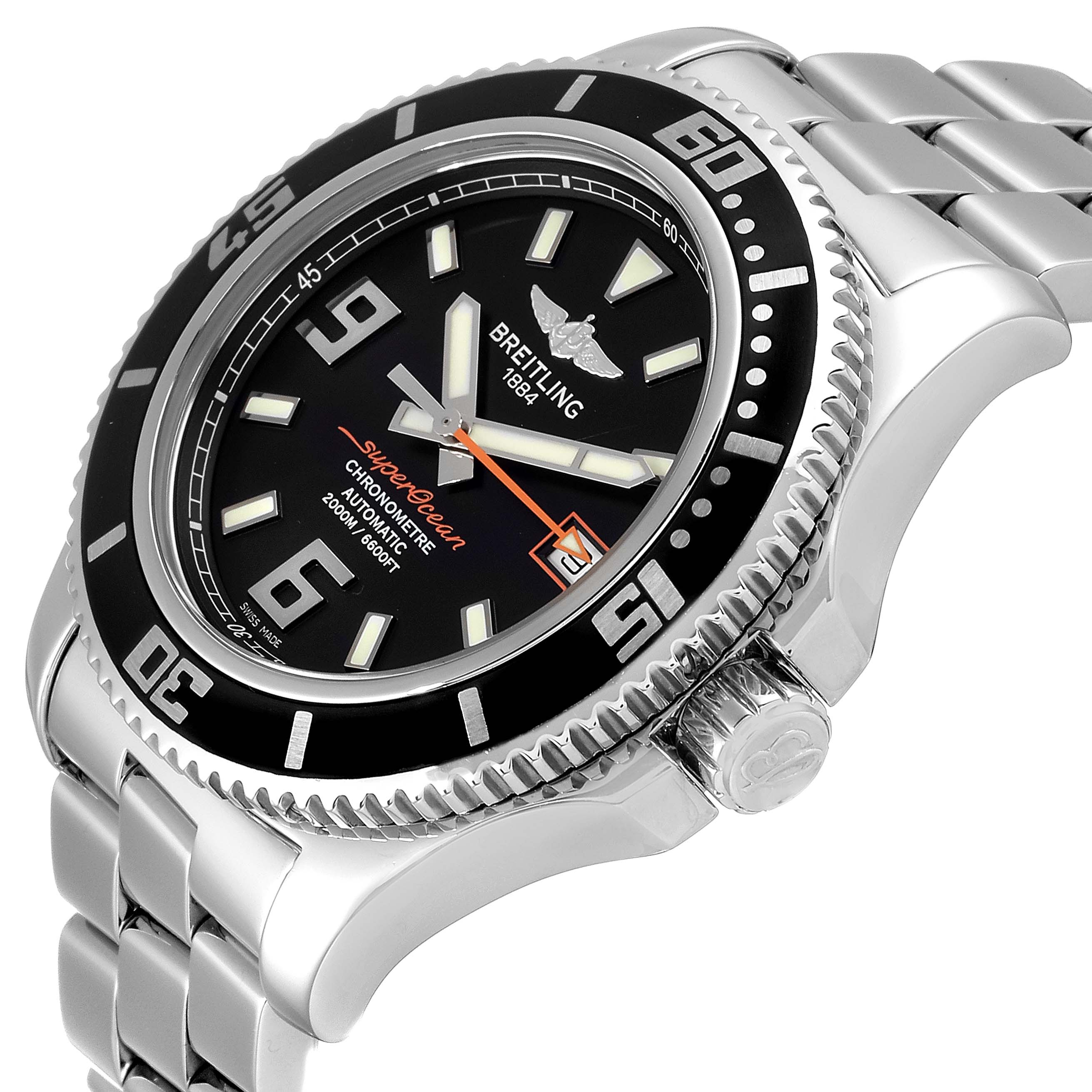 Breitling Aeromarine Superocean 44 Orange Hand Mens Watch A17391 SwissWatchExpo