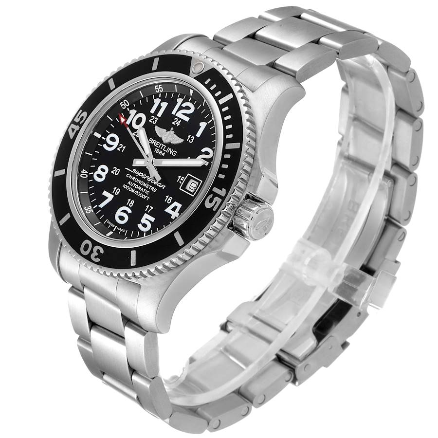 Breitling Superocean II 44 Black Dial Mens Watch A17392 Box Papers SwissWatchExpo