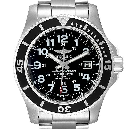 Breitling Superocean II 44 Black Dial Mens Watch A17392 Box Papers