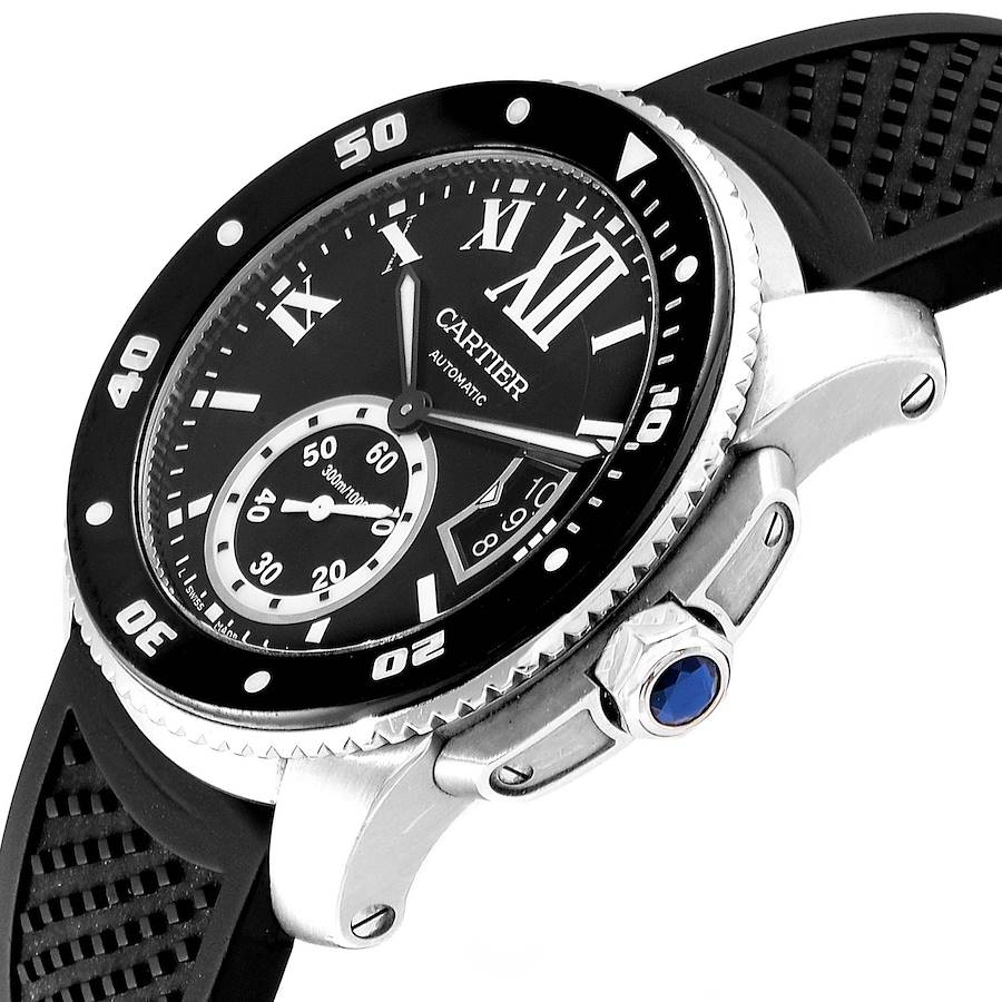 Cartier Calibre Diver Black Rubber Strap Steel Mens Watch W7100056 Box SwissWatchExpo