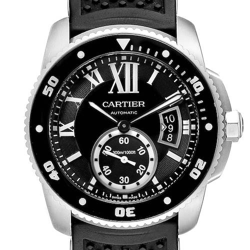 Cartier Calibre Diver Black Rubber Strap Steel Mens Watch W7100056 Box