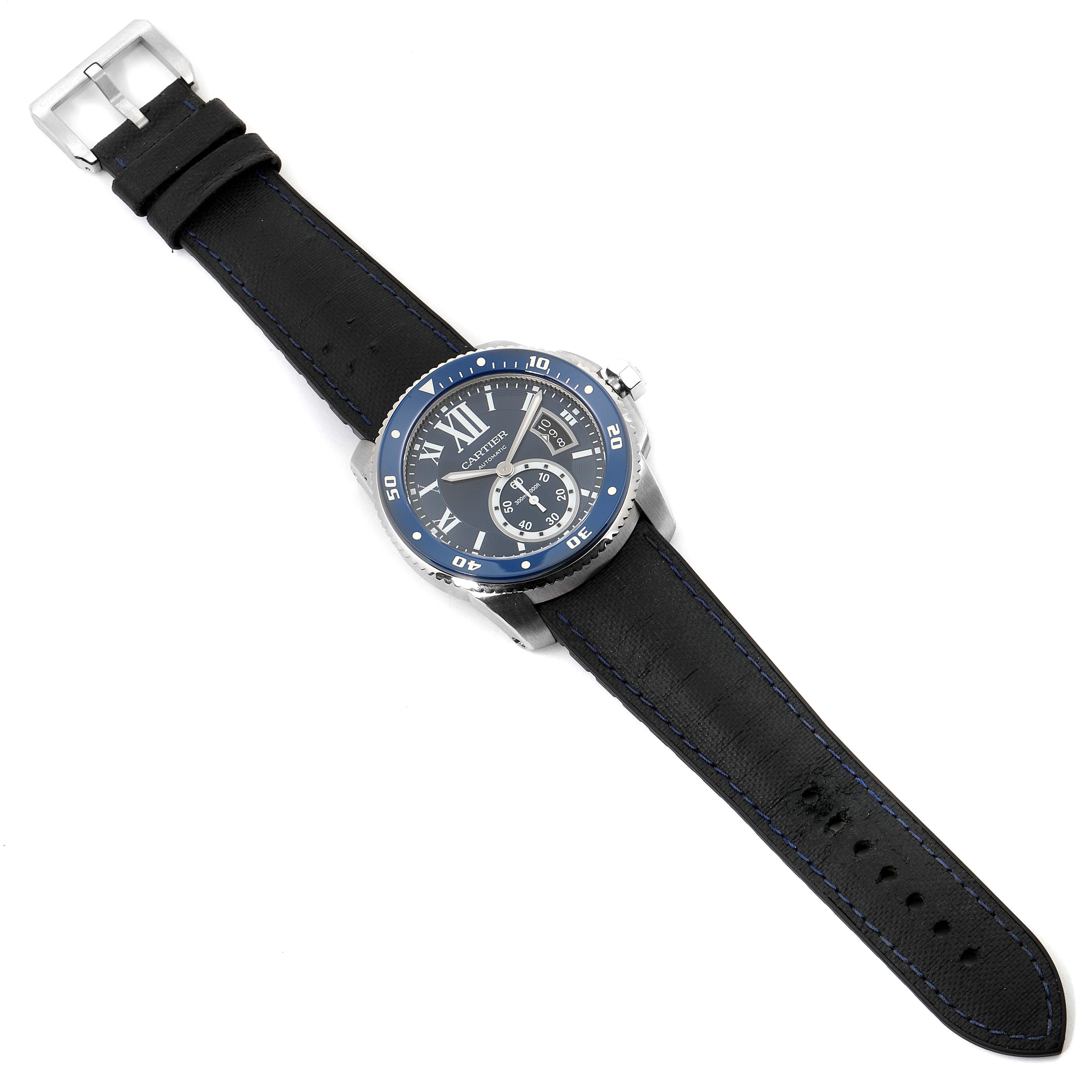 Cartier Calibre Diver Blue Dial Rubber Strap Steel Mens Watch WSCA0011 Papers SwissWatchExpo