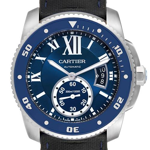 Photo of Cartier Calibre Diver Blue Dial Rubber Strap Steel Mens Watch WSCA0011 Papers