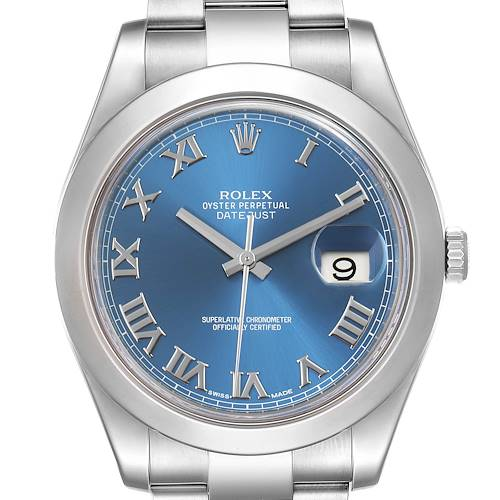 Photo of Rolex Datejust II Blue Roman Dial Steel Mens Watch 116300 Box Card
