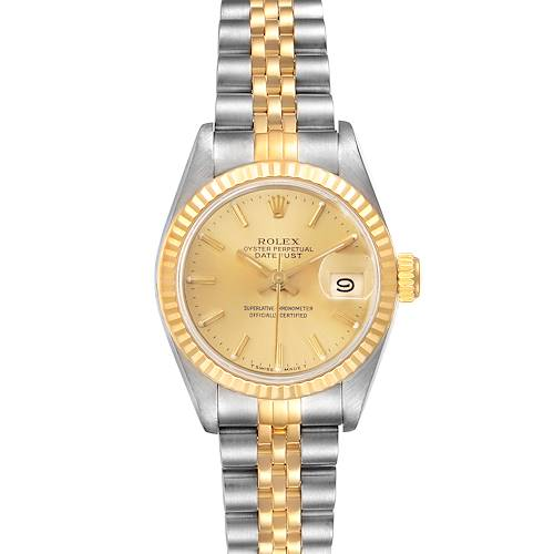 Photo of Rolex Datejust Steel Yellow Gold Fluted Bezel Ladies Watch 69173 Papers