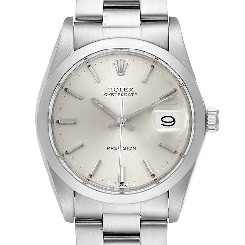 Photo of Rolex OysterDate Precision Silver Dial Steel Vintage Mens Watch 6694