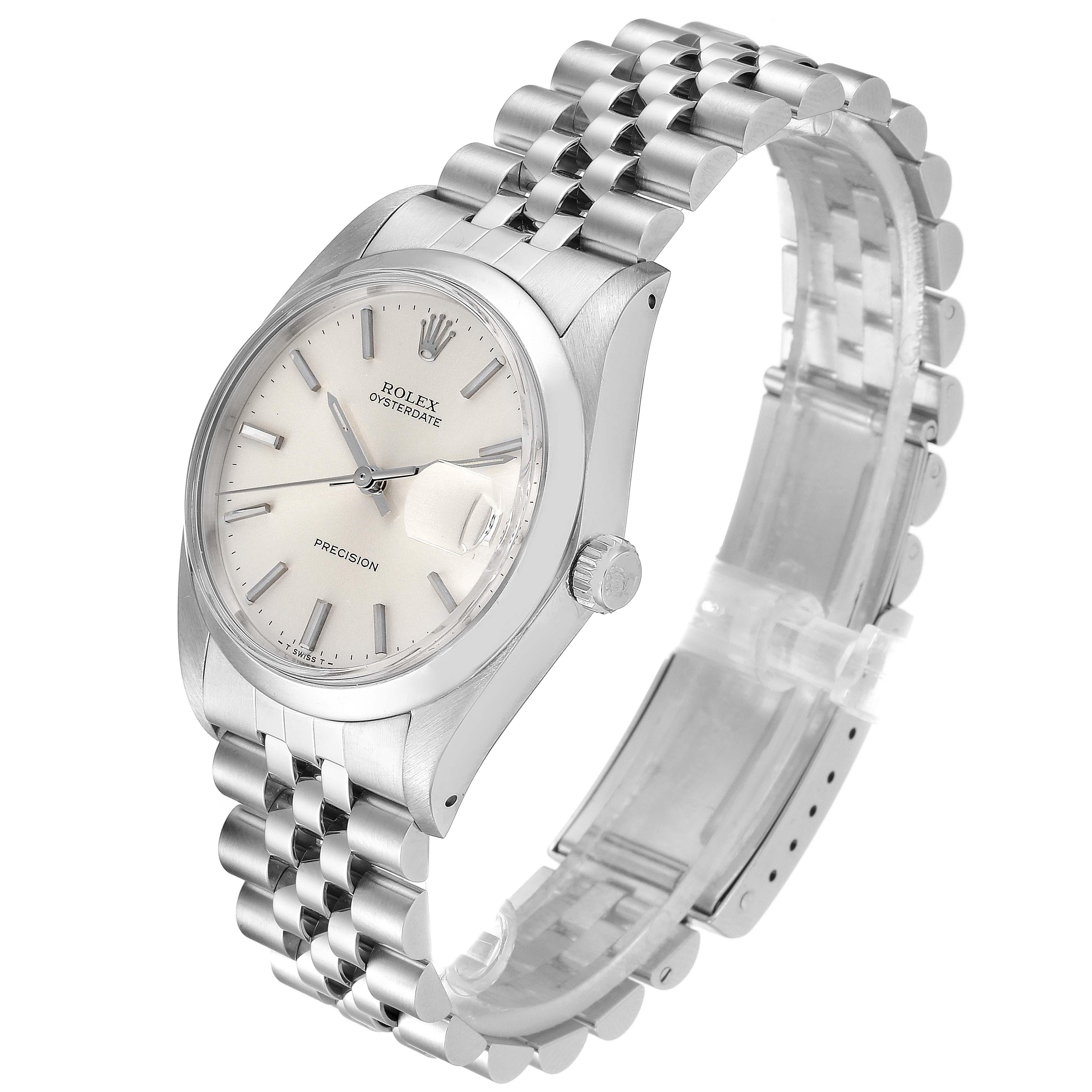 Rolex OysterDate Precision Silver Dial Steel Vintage Mens Watch 6694 SwissWatchExpo