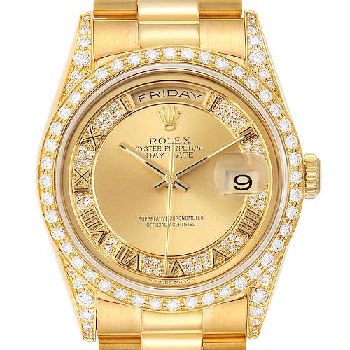 Photo of Rolex President Day-Date Yellow Gold Myriad Diamond Mens Watch 18388