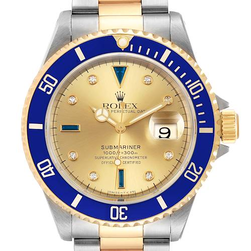 Photo of Rolex Submariner Steel Gold Diamond Sapphire Serti Dial Mens Watch 16613
