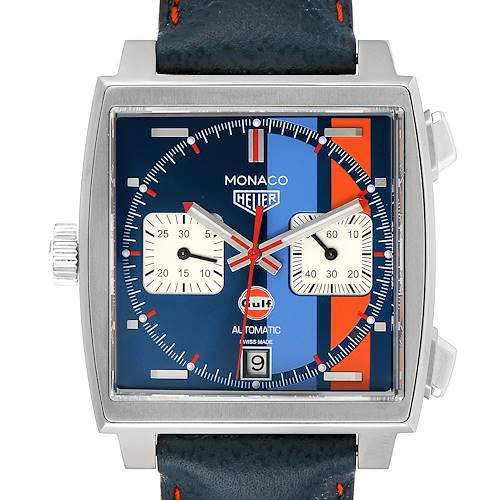 Photo of Tag Heuer Monaco Gulf 2018 Chronograph Steel Mens Watch CAW211R Box Papers