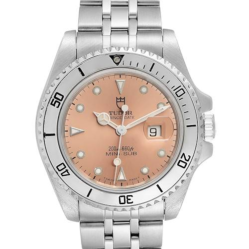 Photo of Tudor Prince Date Mini Sub Salmon Dial Steel Mens Watch 73190 Papers