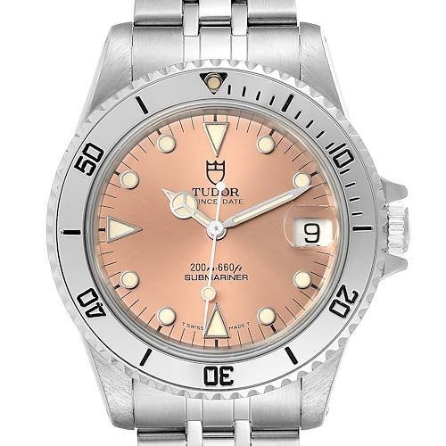 Photo of Tudor Submariner Prince Date Salmon Dial Steel Mens Watch 75190