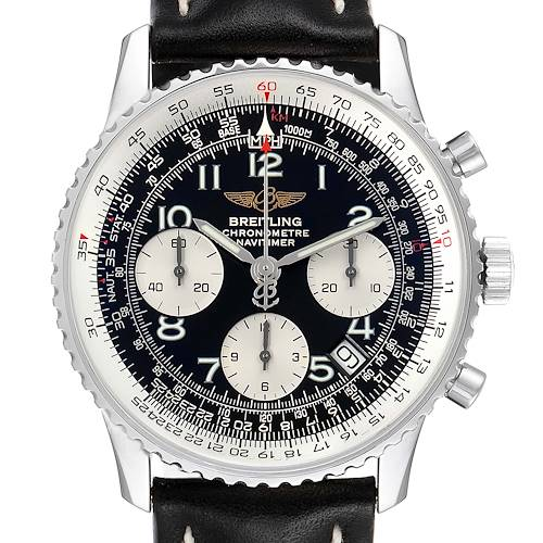 Photo of Breitling Navitimer Black Dial Chronograph Steel Mens Watch A23322 Box Papers