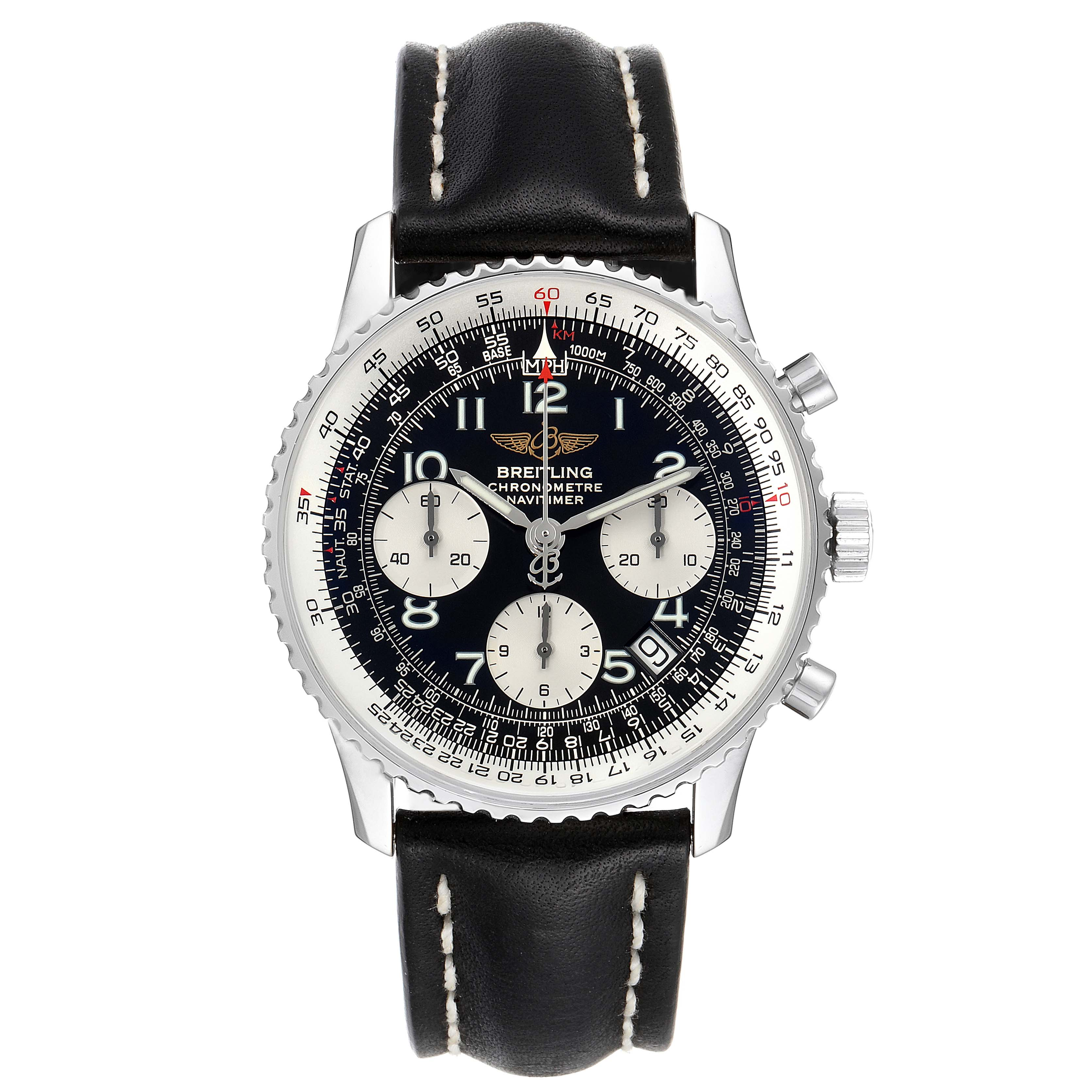 Breitling Navitimer Black Dial Chronograph Steel Mens Watch A23322 Box Papers SwissWatchExpo