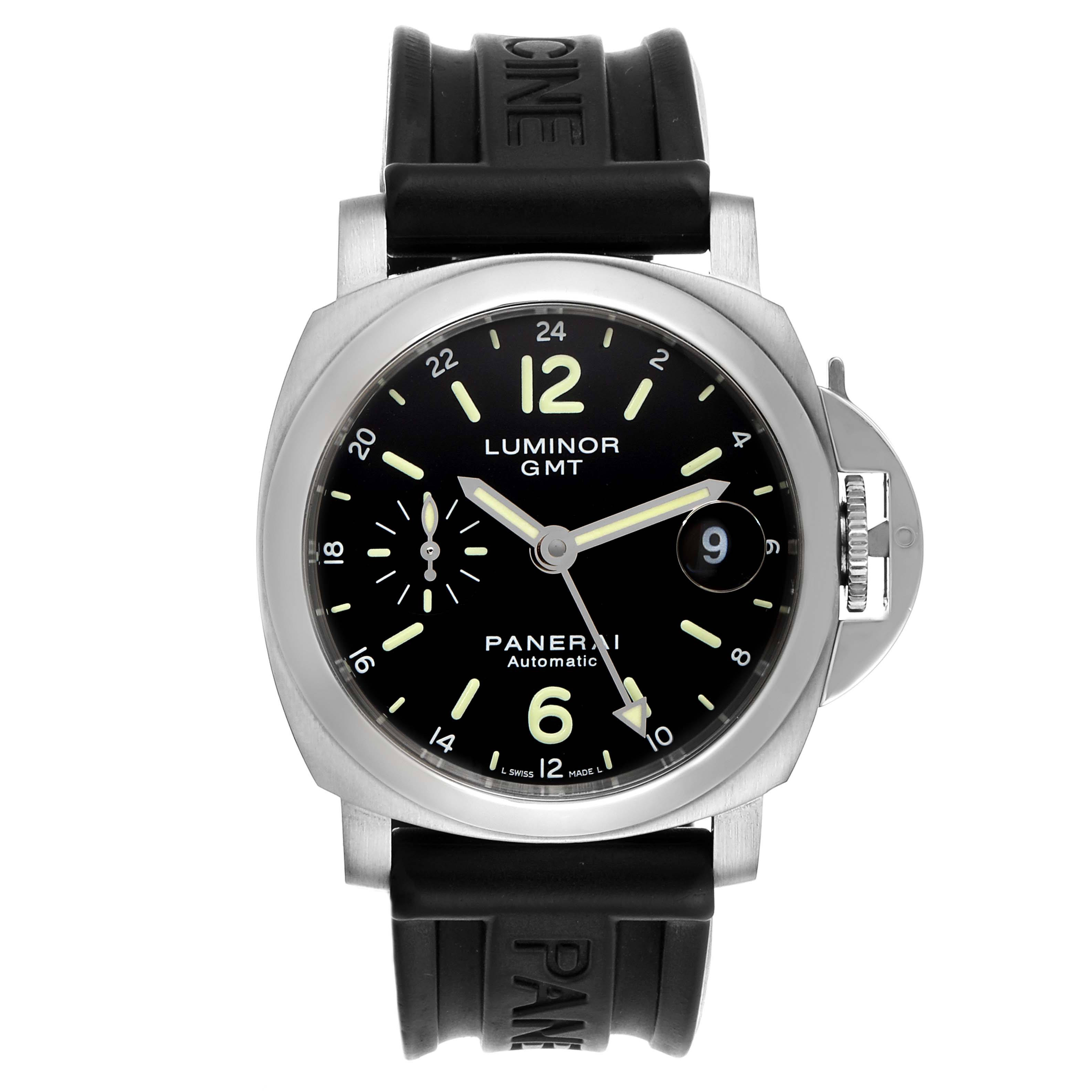 Panerai Luminor GMT 40mm Steel Mens Watch PAM00244 Box Papers SwissWatchExpo