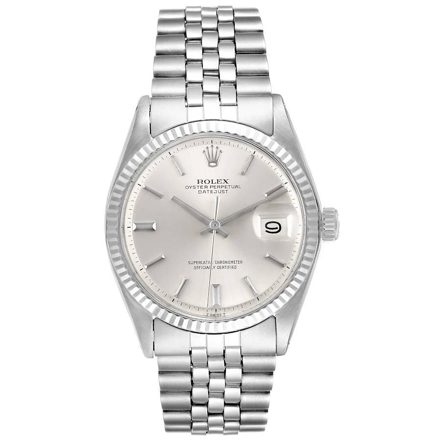Rolex Datejust Steel White Gold Silver Dial Vintage Mens Watch 1601 SwissWatchExpo