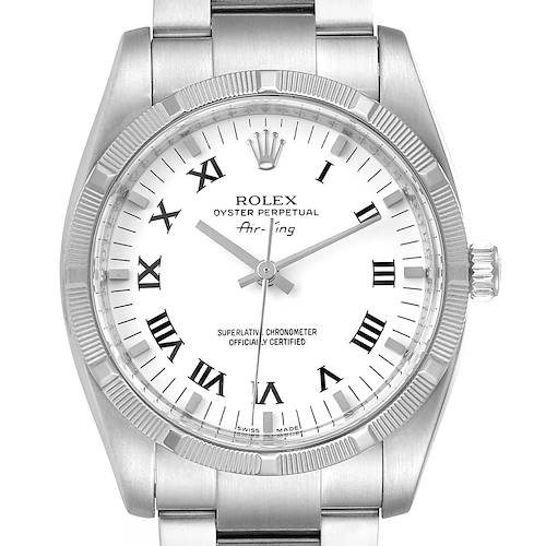 Rolex Oyster Perpetual Air King White Dial Steel Mens Watch 114210 Box Papers