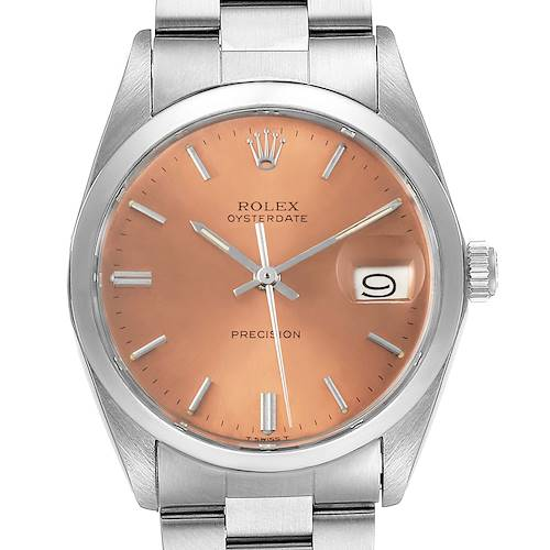 Photo of Rolex OysterDate Precision Bronze Dial Steel Vintage Mens Watch 6694