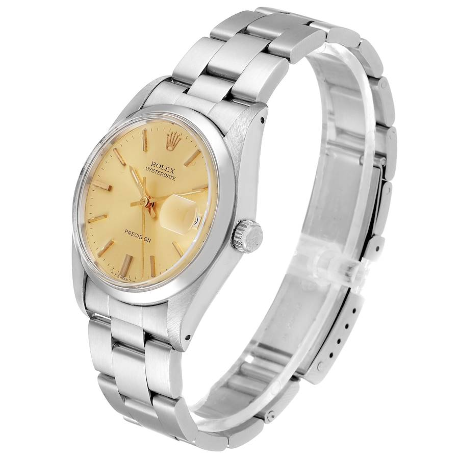 Rolex OysterDate Precision Steel Vintage Mens Watch 6694 SwissWatchExpo