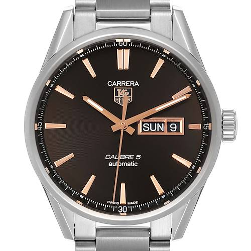 Photo of Tag Heuer Carrera Calibre 5 Day Date Steel Mens Watch WAR201D Box Card