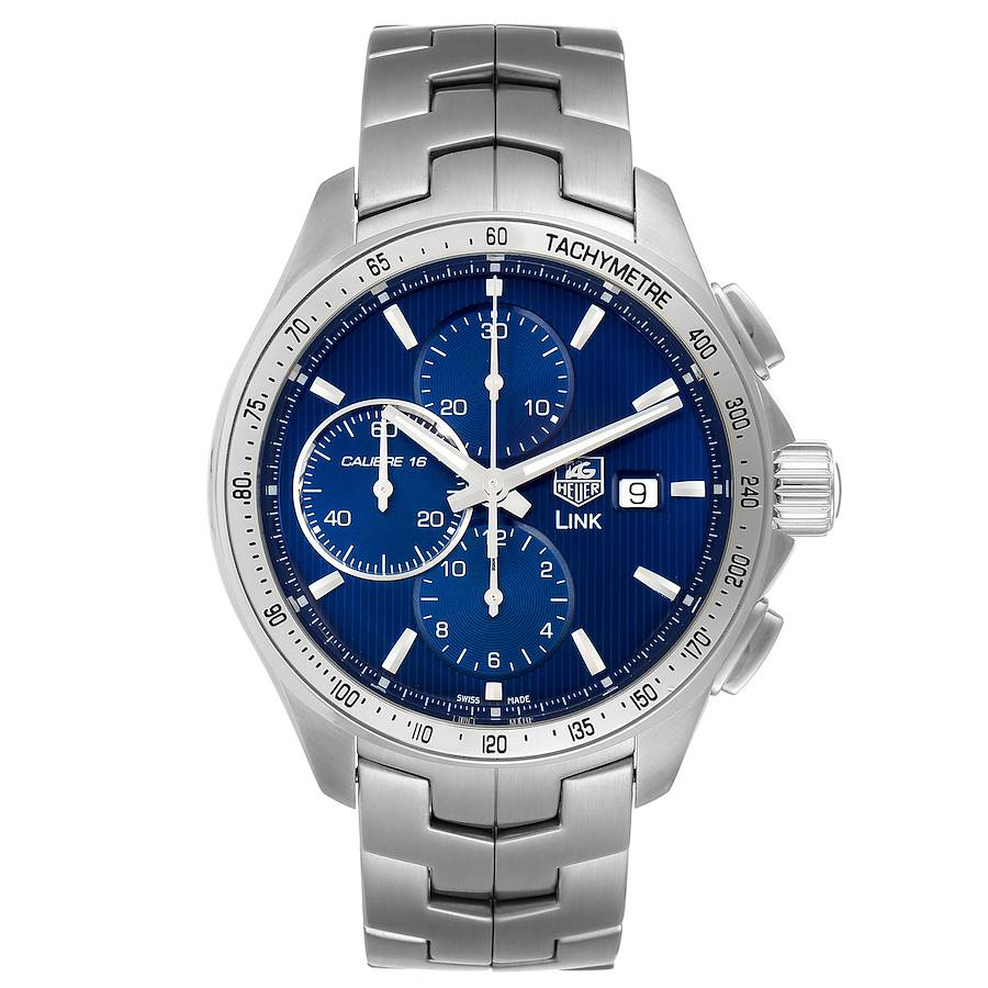 TAG Heuer Link Steel Blue Dial Chronograph Mens Watch CAT2015 Box Papers SwissWatchExpo