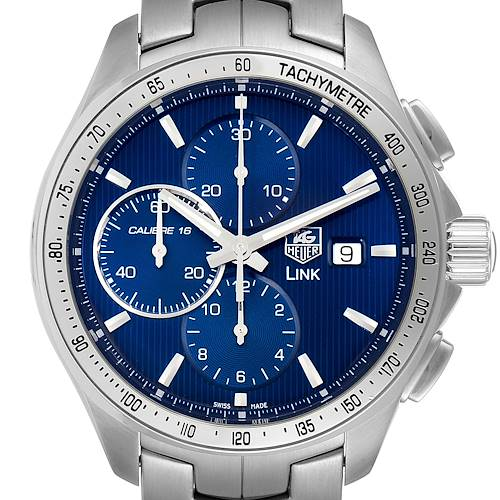 Photo of TAG Heuer Link Steel Blue Dial Chronograph Mens Watch CAT2015 Box Papers