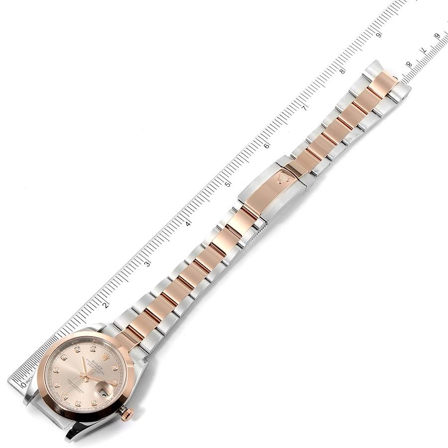 Rolex Datejust 41 Steel Rose Gold Diamond Dial Mens Watch 126301 Box Card SwissWatchExpo