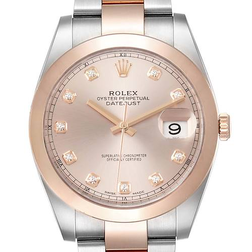 Photo of Rolex Datejust 41 Steel Rose Gold Diamond Dial Mens Watch 126301 Box Card