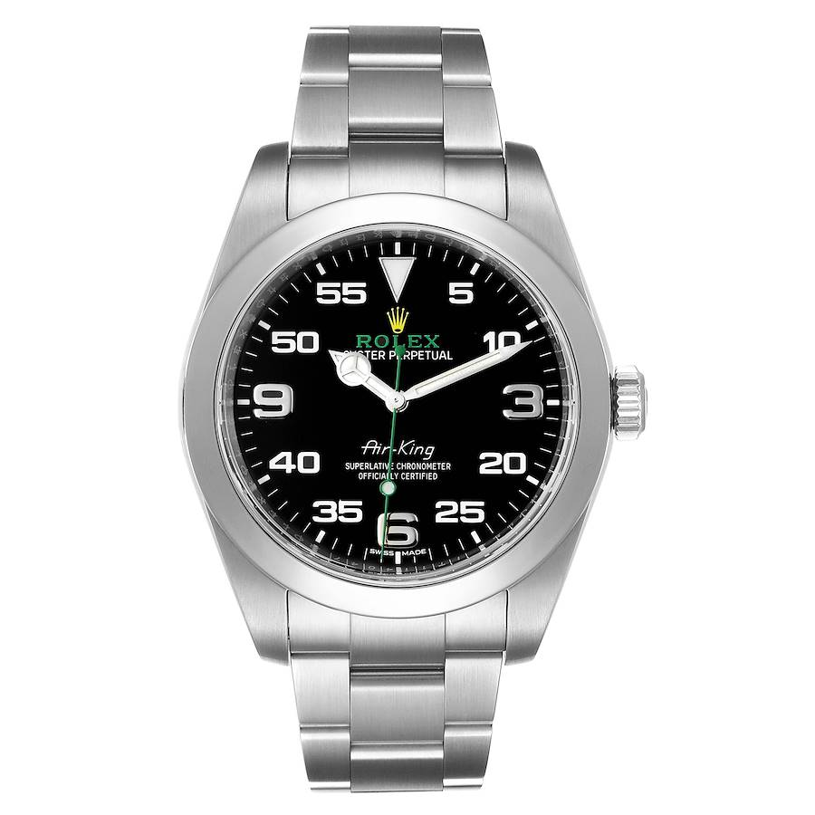 Rolex Oyster Perpetual Air King Black Dial Steel Watch 116900 Box Card SwissWatchExpo