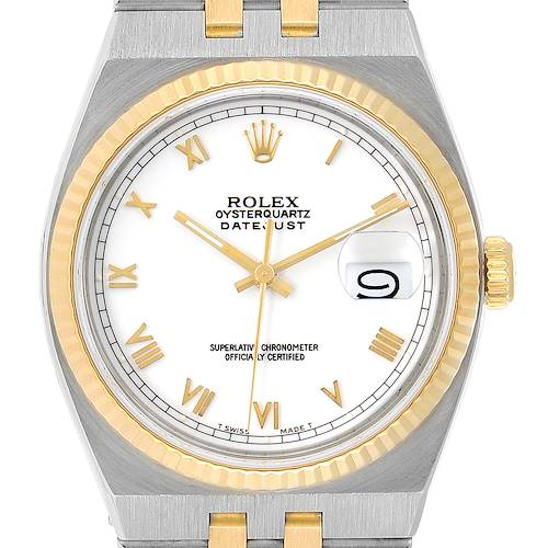 Photo of Rolex Oysterquartz Datejust Steel Yellow Gold White Dial Watch 17013 Box