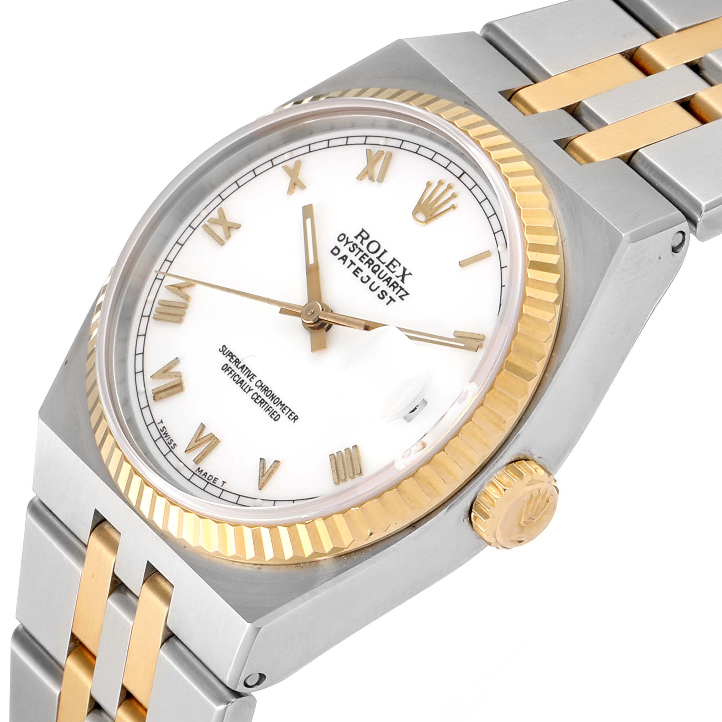 Rolex Oysterquartz Datejust Steel Yellow Gold White Dial Watch 17013 Box SwissWatchExpo