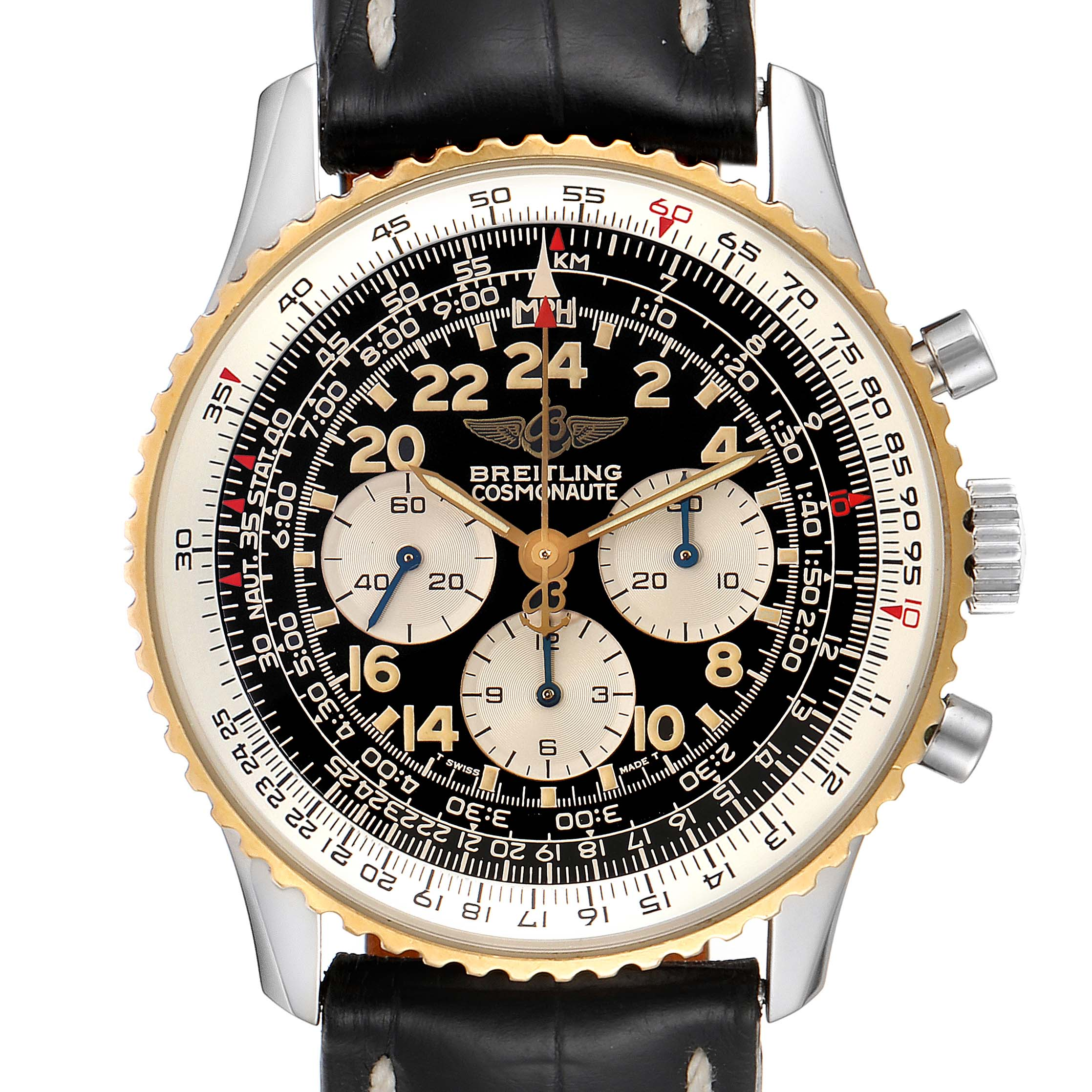 Breitling Navitimer Cosmonaute Lemania Steel Yellow Gold Watch D12022 Box Papers SwissWatchExpo