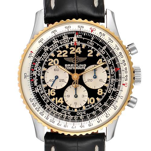 Photo of Breitling Navitimer Cosmonaute Lemania Steel Yellow Gold Watch D12022 Box Papers