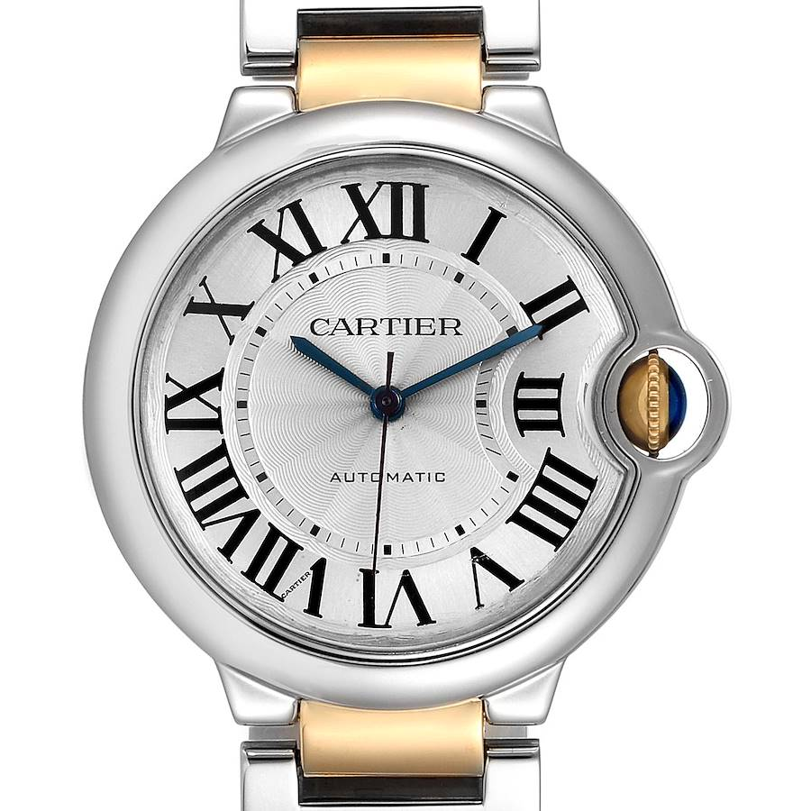 Cartier Ballon Bleu Midzize 36 Steel Yellow Gold Ladies Watch W2BB0012 Box SwissWatchExpo