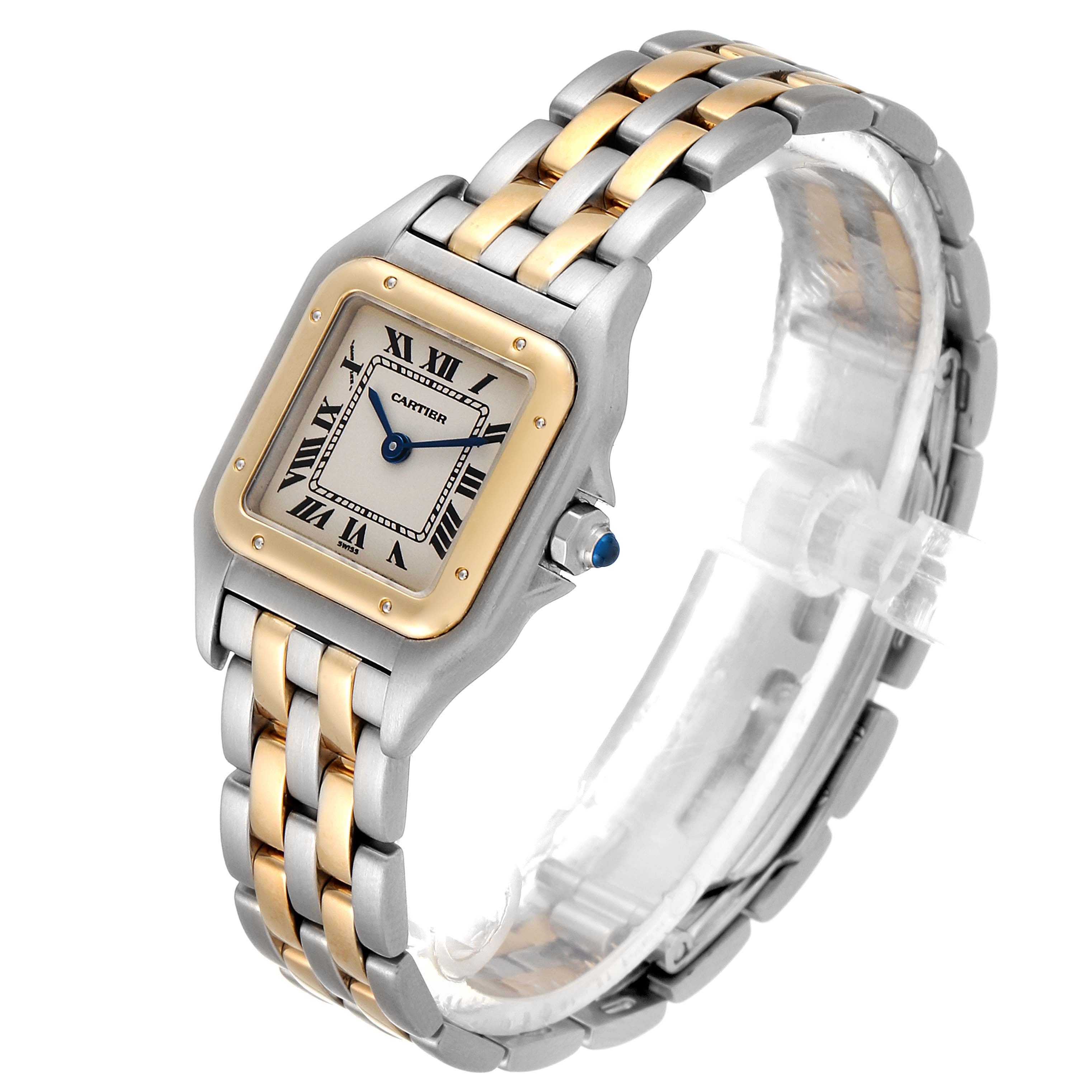 Cartier Panthere Ladies Steel Yellow Gold 2 Row Ladies Watch W25029B6 SwissWatchExpo