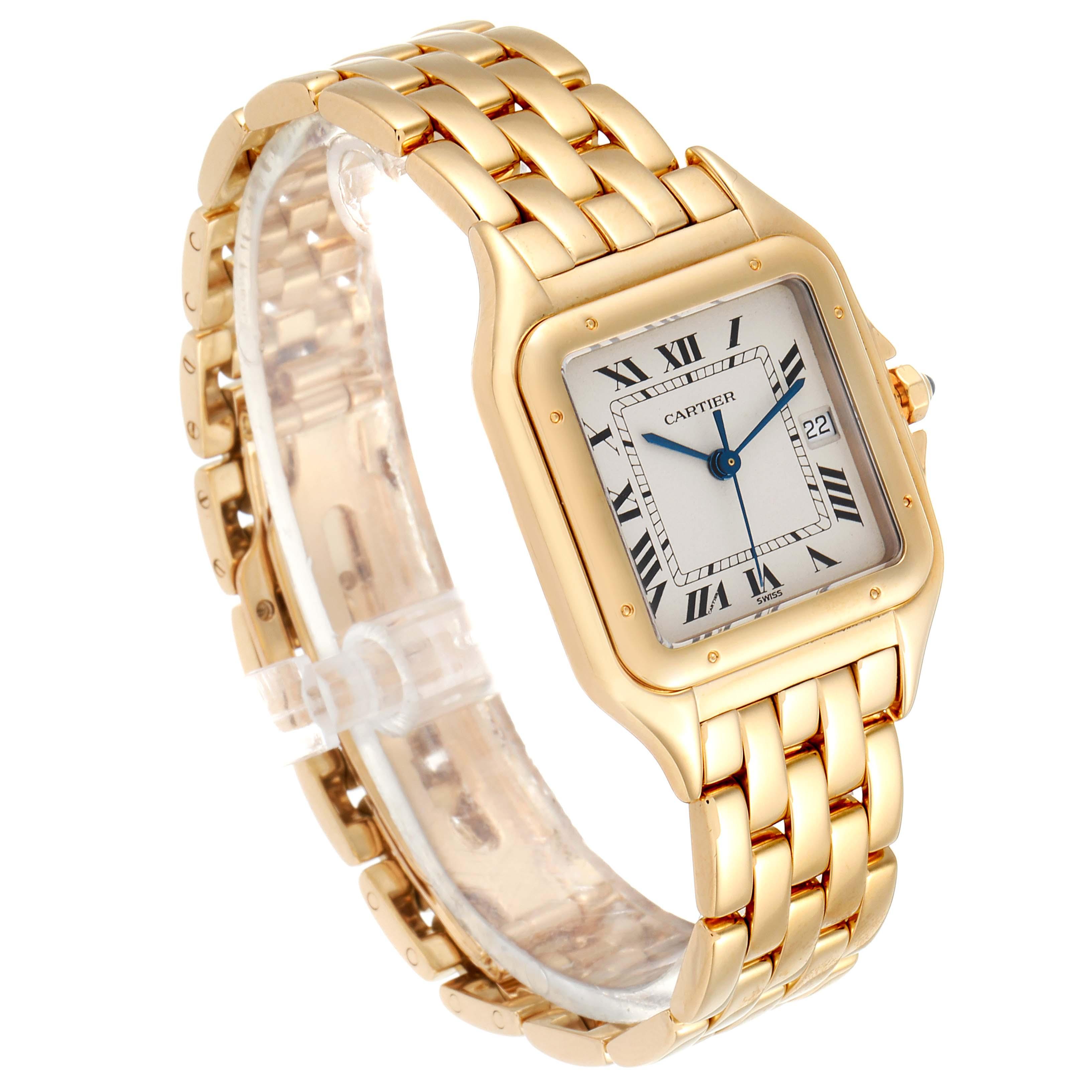 Cartier Panthere XL Blue Sapphire Yellow Gold Unisex Watch W25014B9 Box SwissWatchExpo