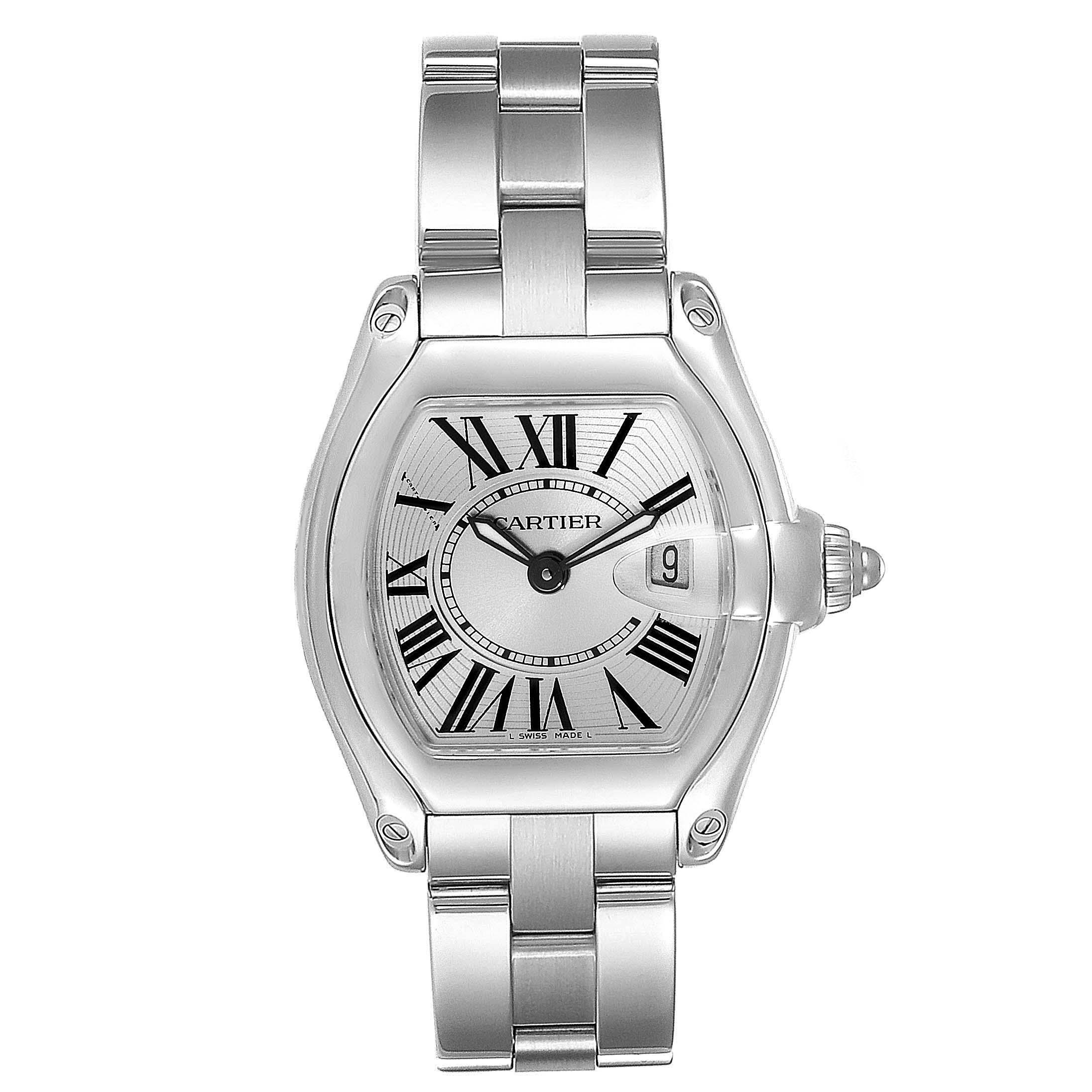 Cartier Roadster Silver Dial Small Model Steel Ladies Watch W62016V3 SwissWatchExpo