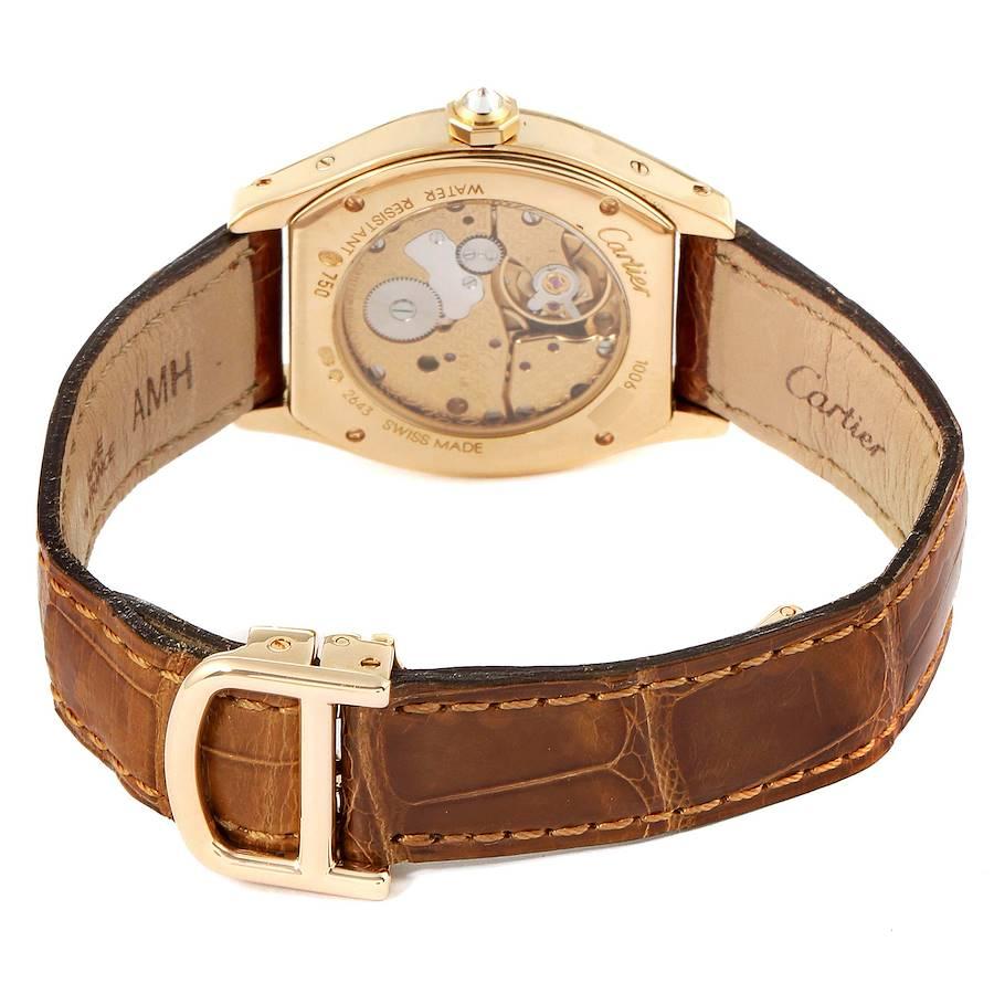 Cartier Tortue Yellow Gold Diamond Brown Strap Ladies Watch WA503751 SwissWatchExpo