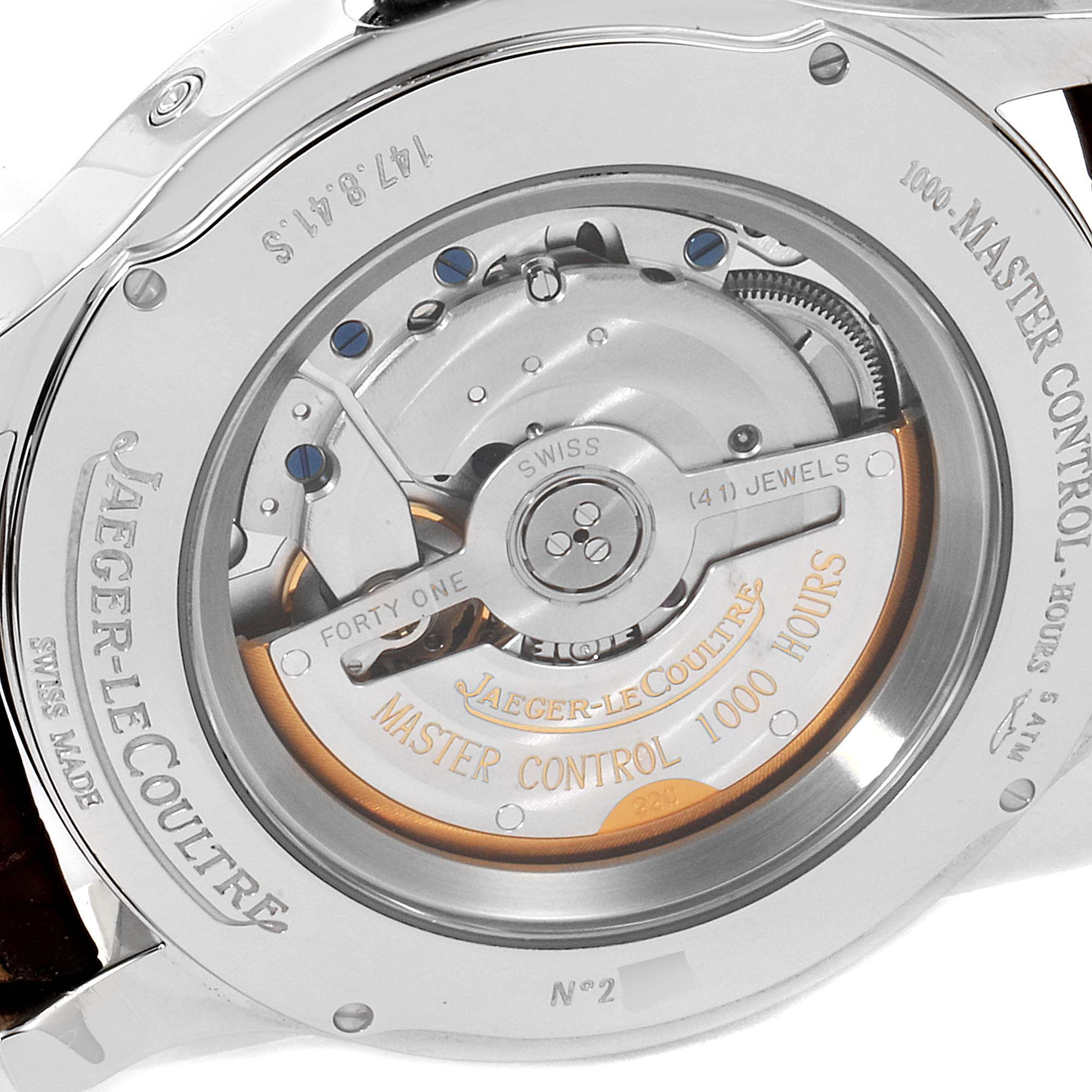Jaeger Lecoultre Master Calendar Moonphase Mens Watch 147.8.41.S Box Papers SwissWatchExpo
