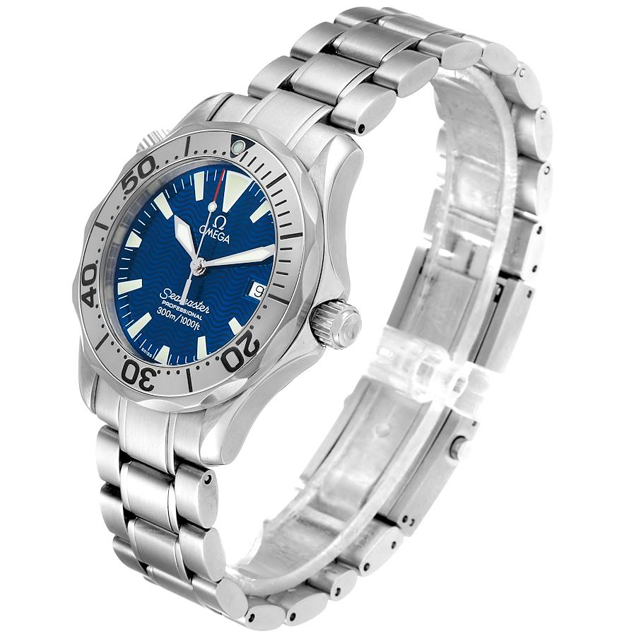 Omega Seamaster Electric Blue Wave Dial Midsize Watch 2263.80.00 SwissWatchExpo