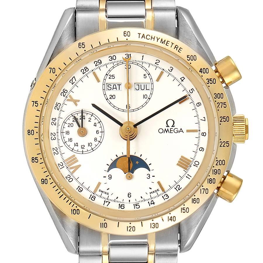 Omega Speedmaster Steel Yellow Gold MoonPhase Mens Watch 3330.20.00 Card SwissWatchExpo