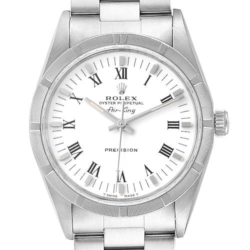 Photo of Rolex Air King 34mm White Dial Steel Mens Watch 14010 Box Papers