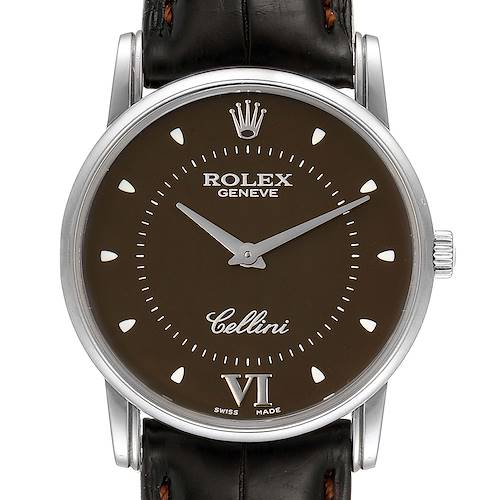 Rolex Cellini Classic White Gold Brown Dial Watch 5116 Papers