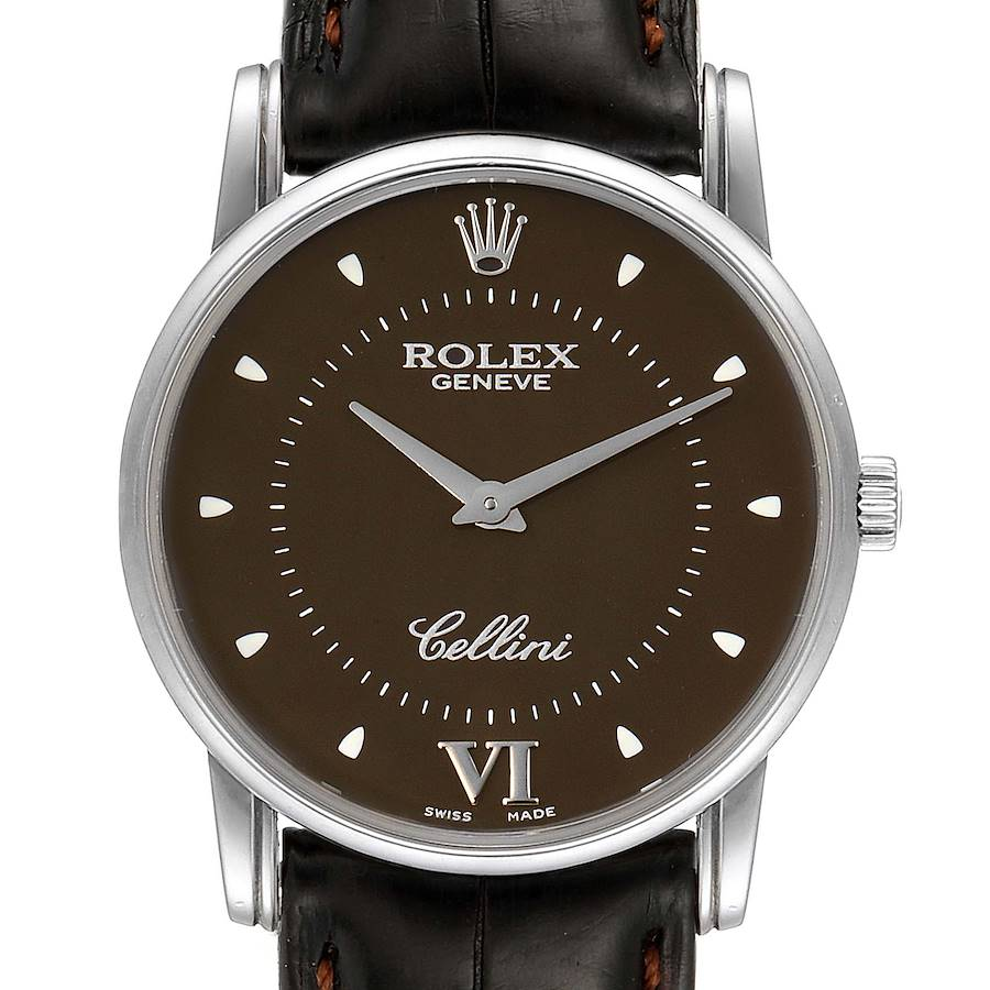 Rolex Cellini Classic White Gold Brown Dial Watch 5116 Papers SwissWatchExpo