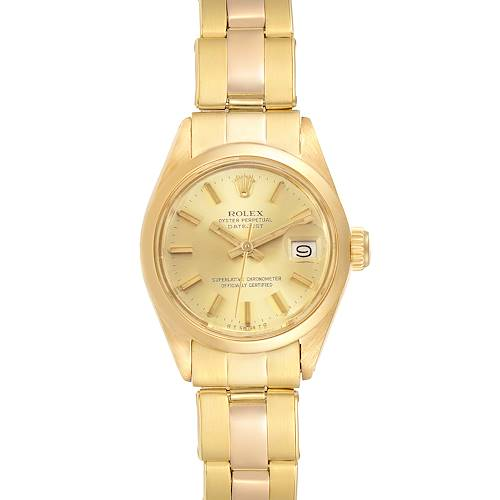 Photo of Rolex Datejust 26mm 18K Yellow Gold White Dial Ladies Watch 6916