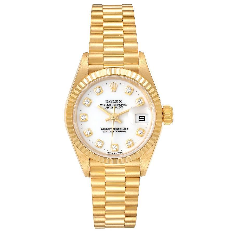Rolex President Datejust Yellow Gold Diamond Ladies Watch 69178 Box SwissWatchExpo