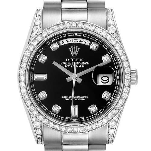 Photo of Rolex President Day-Date 18k White Gold Diamond Mens Watch 118339 Box Papers