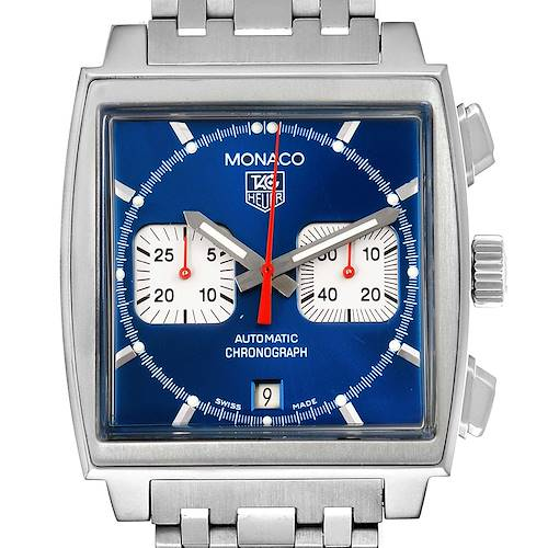 Photo of Tag Heuer Monaco Blue Dial Automatic Chronograph Mens Watch CW2113 Papers