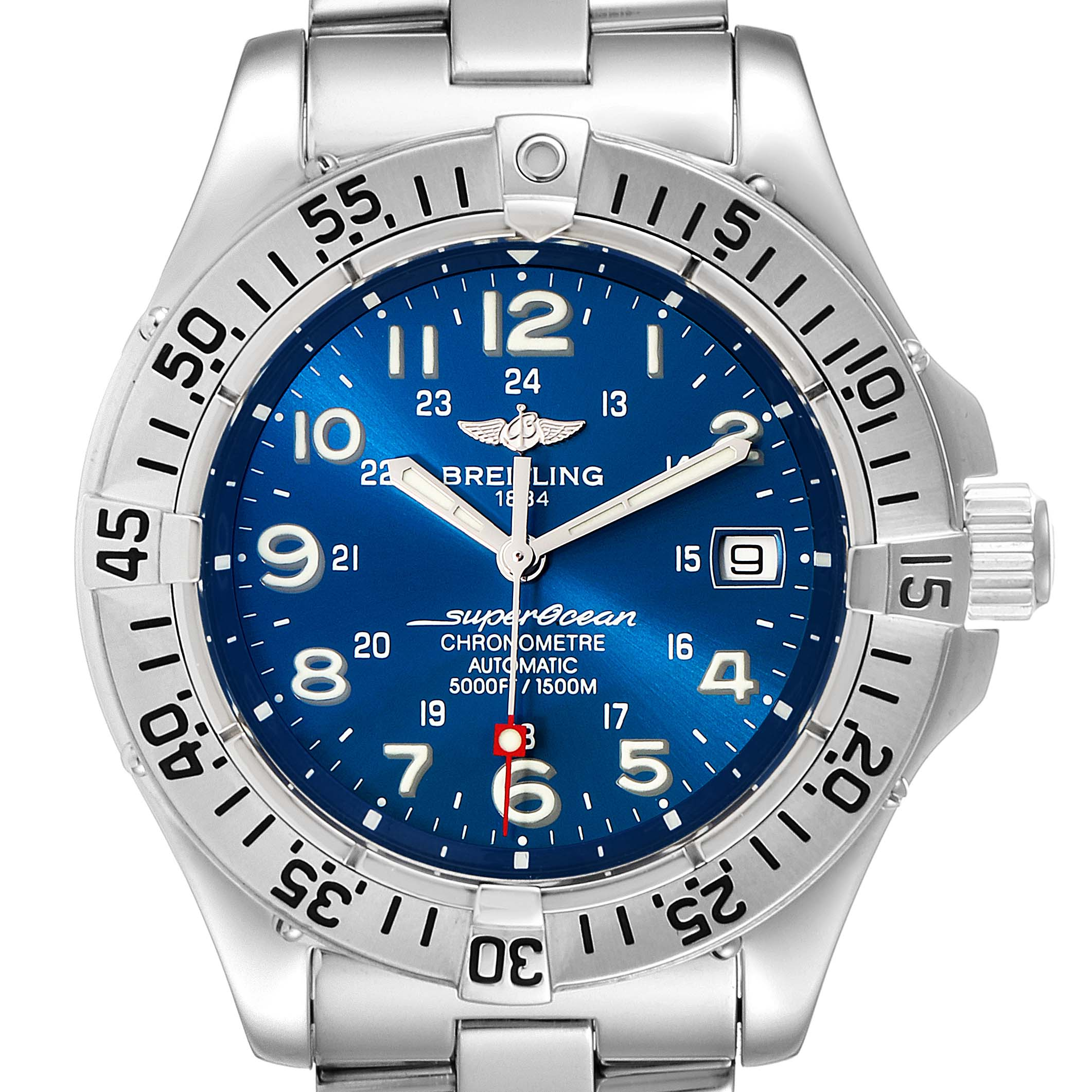 Breitling Superocean Steelfish Blue Dial Steel Mens Watch A17360 Box Papers SwissWatchExpo