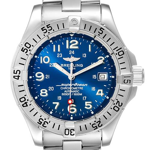 Breitling Superocean Steelfish Blue Dial Steel Mens Watch A17360 Box Papers
